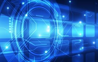 Blaues Symbol Netzwerktechnik